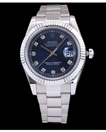 Rolex Men s Stainless Steel Mid size Datejust Watches Blue