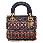 Christian Dior Leather Beaded Fringe Mini Lady Dior Bag Red