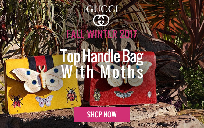 Gucci Leather top handle bag with moth 488691