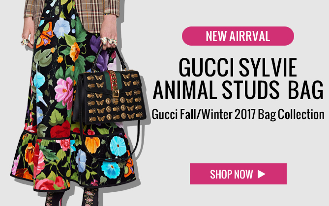Gucci Sylvie animal studs leather top handle bag 431665