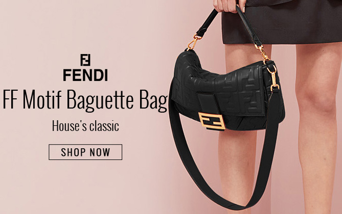 Fendi Baguette Leather Bag 8BR600 Black