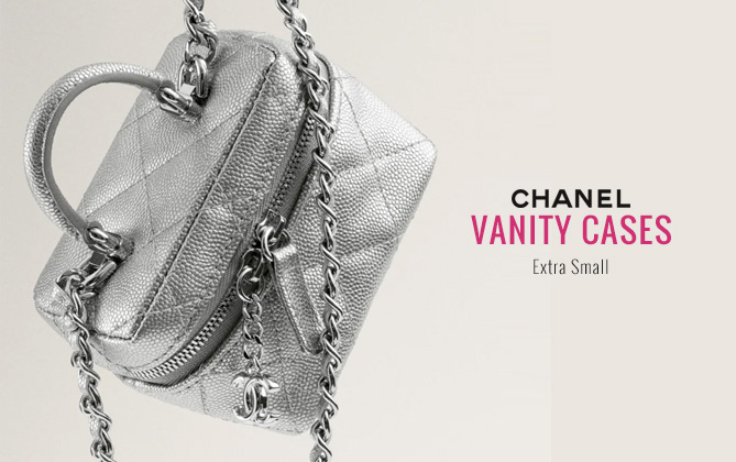Chanel Small Vanity With Chain AP2194 Silver